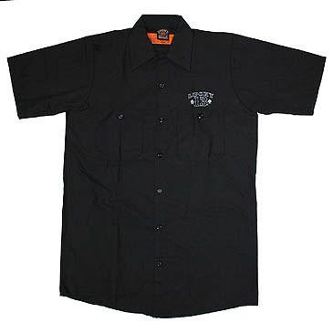 New Punk Rockabilly Lucky 13 Hot Rod Mens Black Work Shirt 4XL
