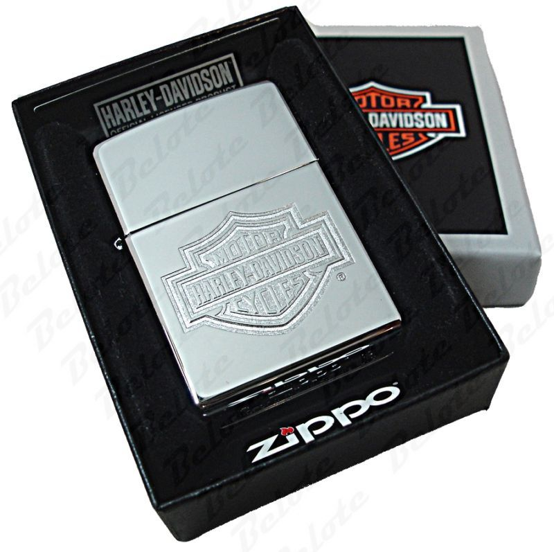 Zippo Harley Davidson Bar & Shield Chrome Lighter 24776