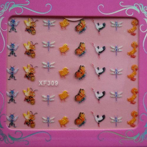 hot sale 7 sheets different Style 3D Nail Art Sticker Decal Tip