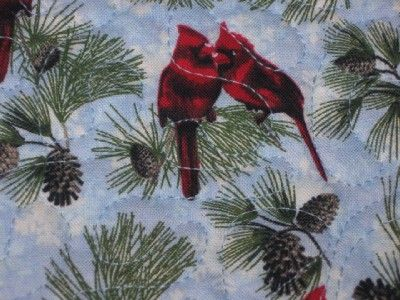 Quilted Table Runner Christmas hand pieced Birds Cardinals pine boughs