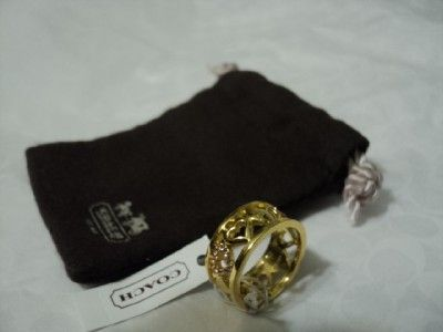 NEW coach open heart crystal band ring/gold size 7 F94940 pink/gold