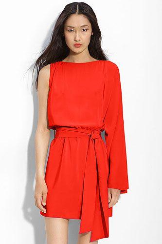 Haute Hippie One Sleeve Silk Dress Red Size xs $400