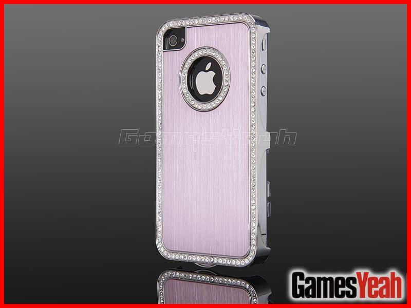 Pink Luxury Bling Diamond Chrome Hard Aluminium Case Cover For iPhone