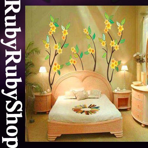 CP 049 YELLOW FLOWER WALL ART DECOR MURAL DECO STICKER