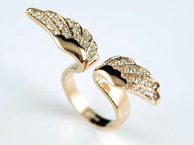 Angel Wing Rose Gold P Ring use Swarovski Crystal SR067