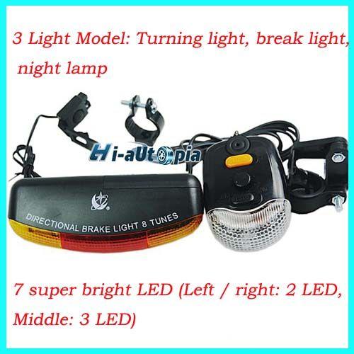 Bicycle Bike Cycling 7 LED Turn Signal Brake Light Lamp Horn