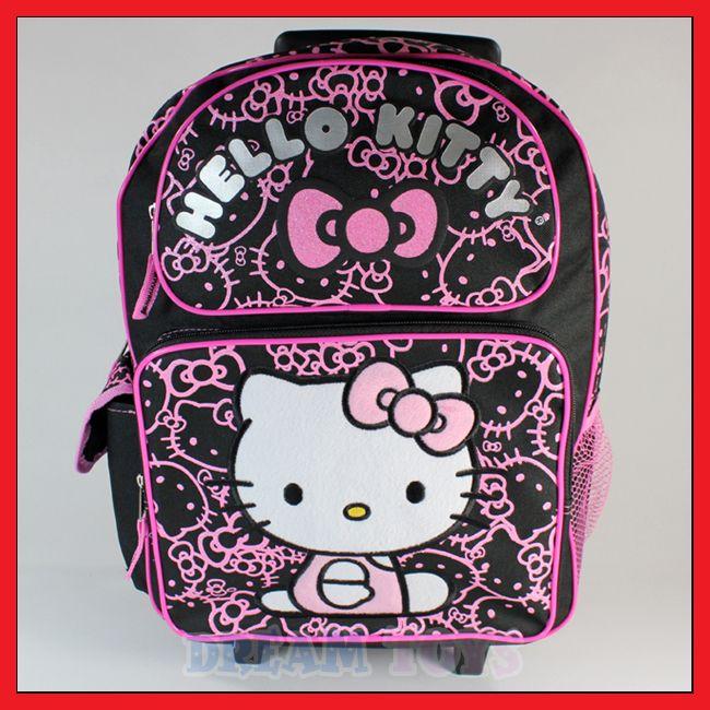 Kitty Black Glitter Roller Backpack   Rolling Girls Bag LARGE