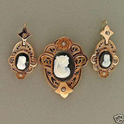 1860 14K ROSE GOLD HARDSTONE AKOYA PEARL BLACK ENAMEL EARRINGS PIN SET