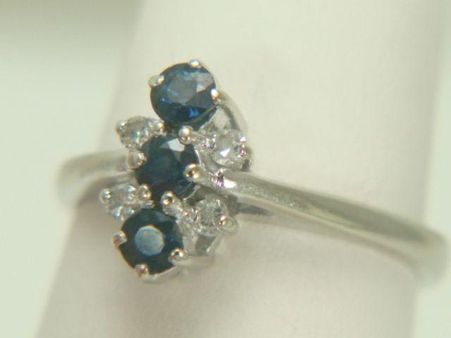 14K White Gold Blue Sapphire & Diamond Ring
